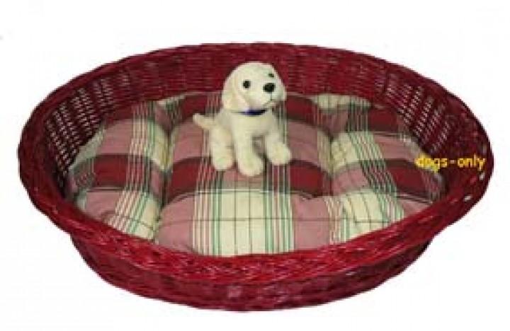Hundekorb Weide 60 cm mit Kissen bunt gebeizt